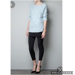 EUC Zara Knit Baby Blue chunky cable knit sweater